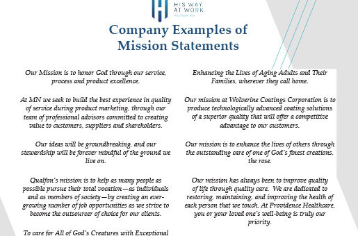 Mission Statement Examples His Way At Work